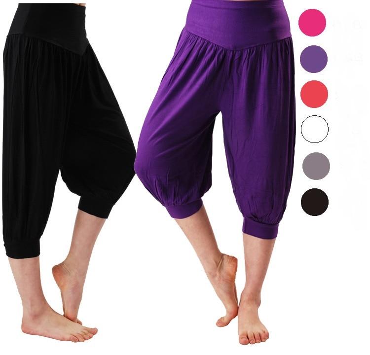 ①  Женские шорты для йоги Девушки Свободные эластичные шаровары Танцы Фитнес Широкие штаны с короткими  ①