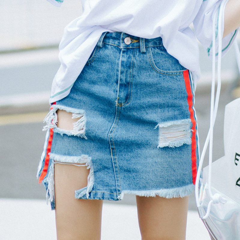 e9404fe88e79 2019 QoerliN Plus Size Jeans Mini Skirts High Waist Holes Hollow Out ...