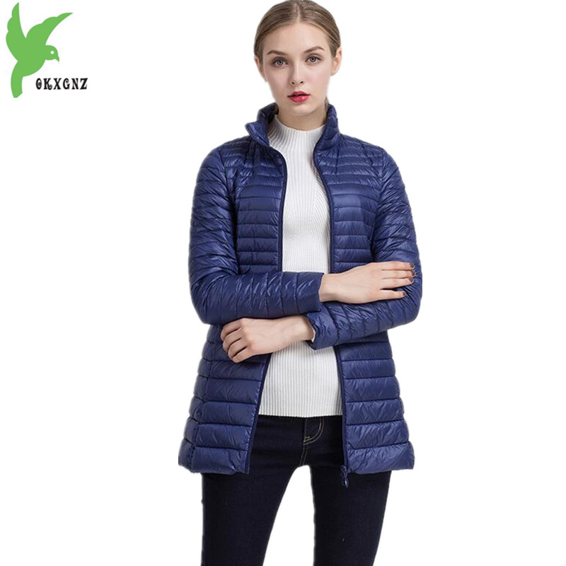 New Women's Autumn Winter Down Cotton Coats Fashion Solid color Casual Keep warm Jackets Thin Light Slim Parkas Plus Size OKXGNZ akslxdmmd fashion casual winter thick hooded jacket 2017 new parka women parttern letters mid long coat female overcoat lh1227