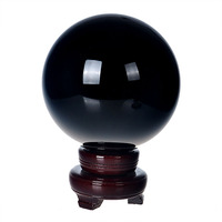 150mm Natural Quartz Black Crystal glass Feng Shui Chakra Healing Gemstone Sphere Magic Ball with wooden base for home decor