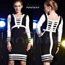 Women Clothing Sexy Club Black Long Sleeve Bandage Dress Casual Elegant Bandage Bodycon Bodysuit Dresses