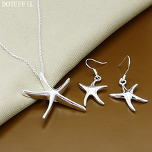DOTEFFIL 925 Sterling Silver Starfish Star Necklace Earring Set For Woman Wedding Engagement Party Fashion Charm Jewelry