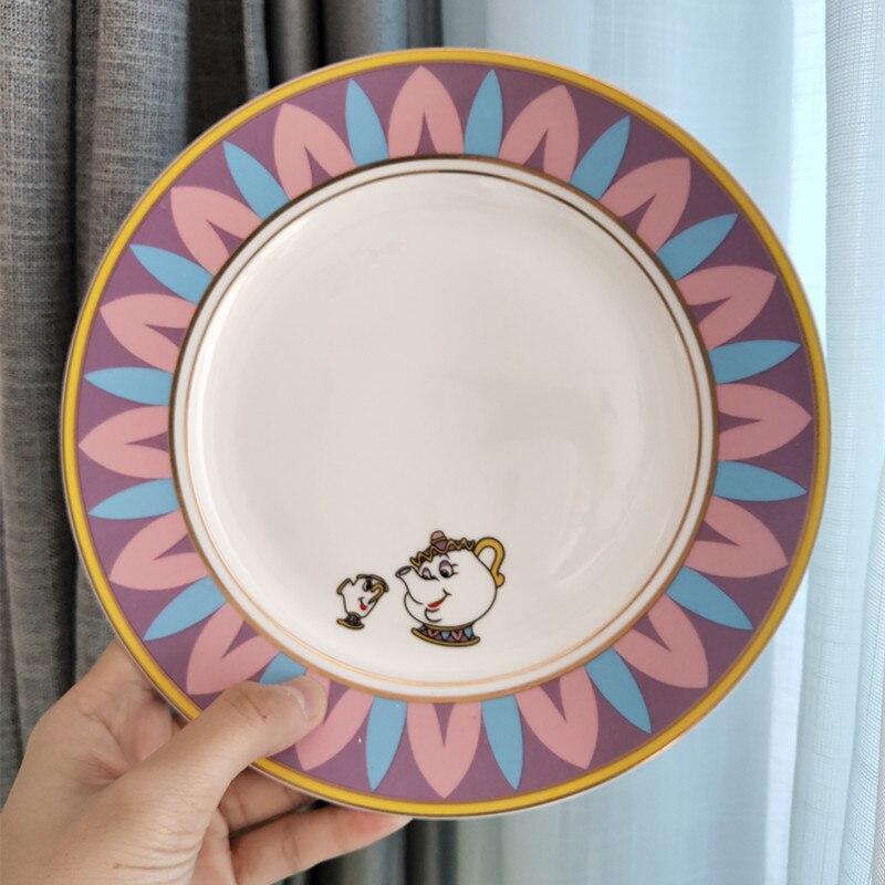 Güzellik ve Beast çay seti seramik tabak tabak yemekleri bayan Potts çip demlik fincan güzel porselen kahve yaratıcı noel hediyesi