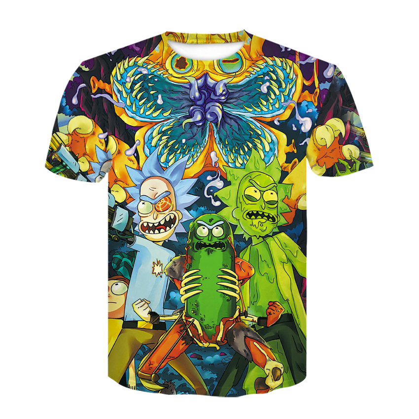 2018 summer Fashion   t  -  shirt   Cartoon Rick and Morty 3d Print Men/women   T     shirts   Hip hop Tee   shirts