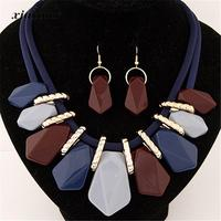 CAIER Gold Plated African Jewelry Set Geometry Necklace Drop Earrings Nigerian Wedding Jewelry Sets For Women