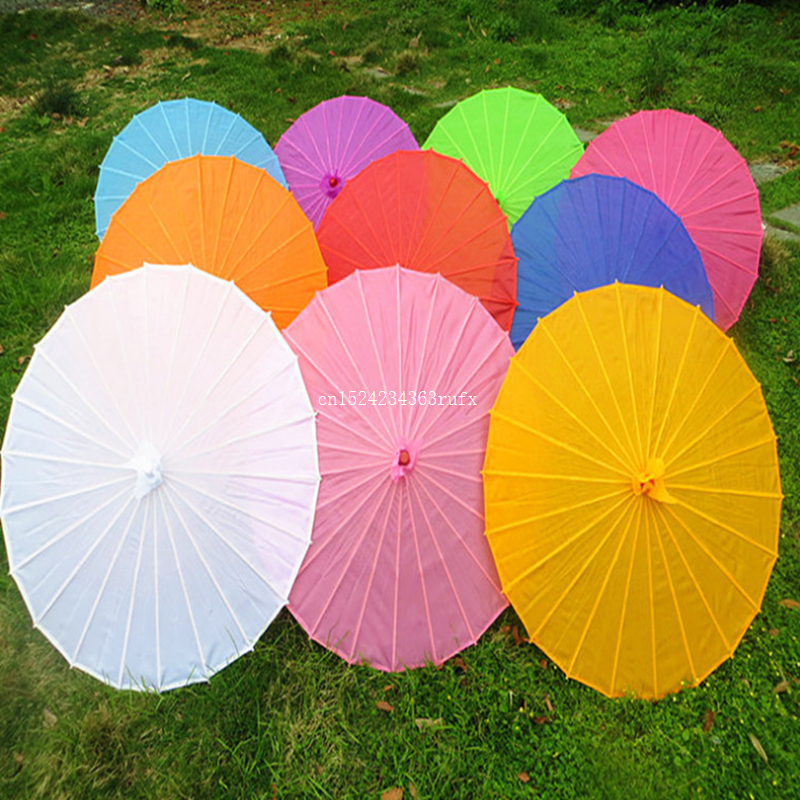 50 pcs Chinese Colored Paper Umbrella White Pink Parasols China Traditional Dance Color Parasol Japanese Silk