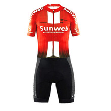 2019 pro team sunweb red aero Cycling skinsuit one piece Short sleeve summer bodysuit bike clothing MTB Ropa Ciclismo speedsuit