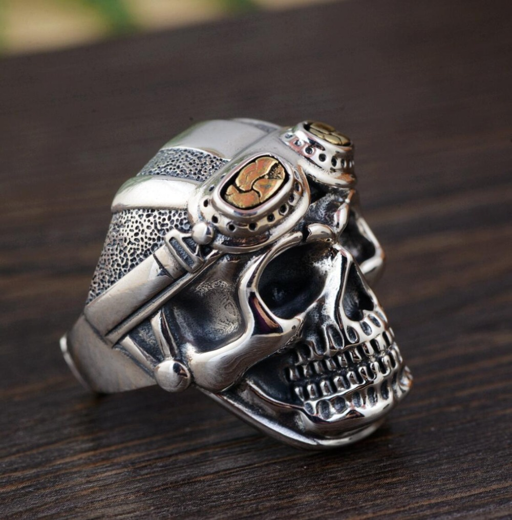 hot sell new - free shipping 925 Sterling Silver Soldier Anniversary Heavy Skull Ring Mens Biker Rock Punk Ring