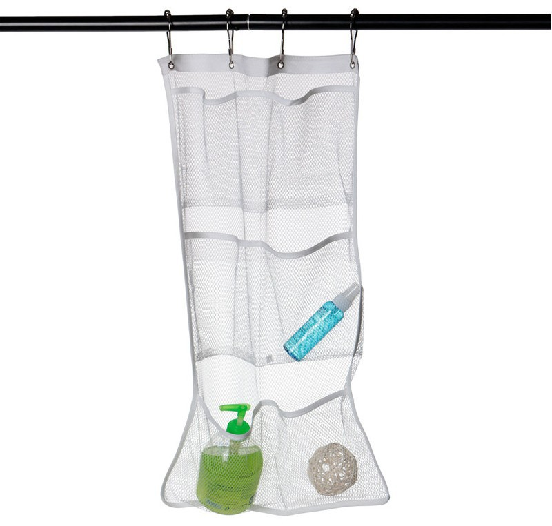 1Pcs 2018 Hot Sale 6 Pocket 63 x 36cm Bathroom Tub Shower Hanging Mesh Organizer Clothes Storage Bag F2242