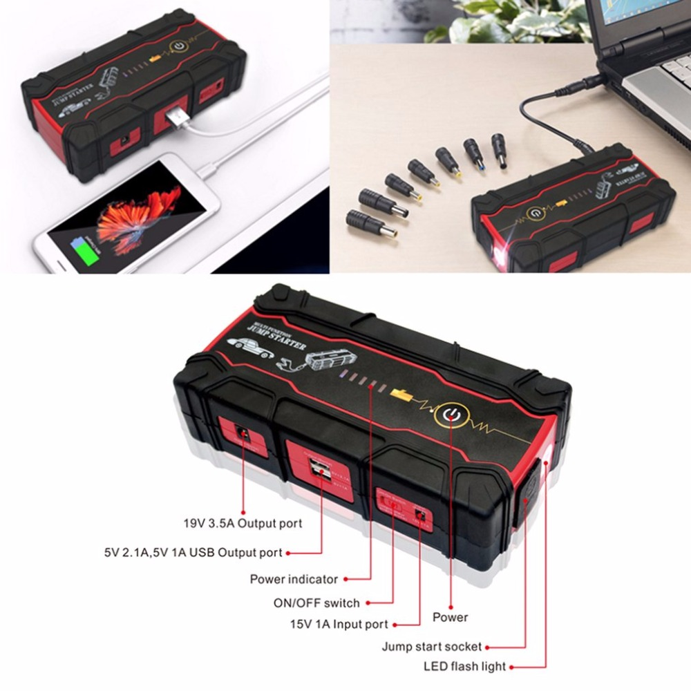 12V 82800mAh Car Jump Starter Vehicle Battery Power Bank Multifunction Car Charger Car Battery Booster Emergency Power Supply