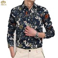MIUK Spring Men Shirt Large Size 5XL Floral Printing Cotton Men's Shirts Slim Long Sleeves Casual Man's Top Green