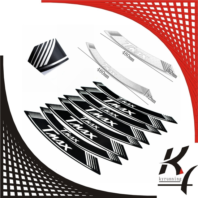 High quality motorcycle rim strips tmax logo stickers wheel decals for yamaha tmax 500