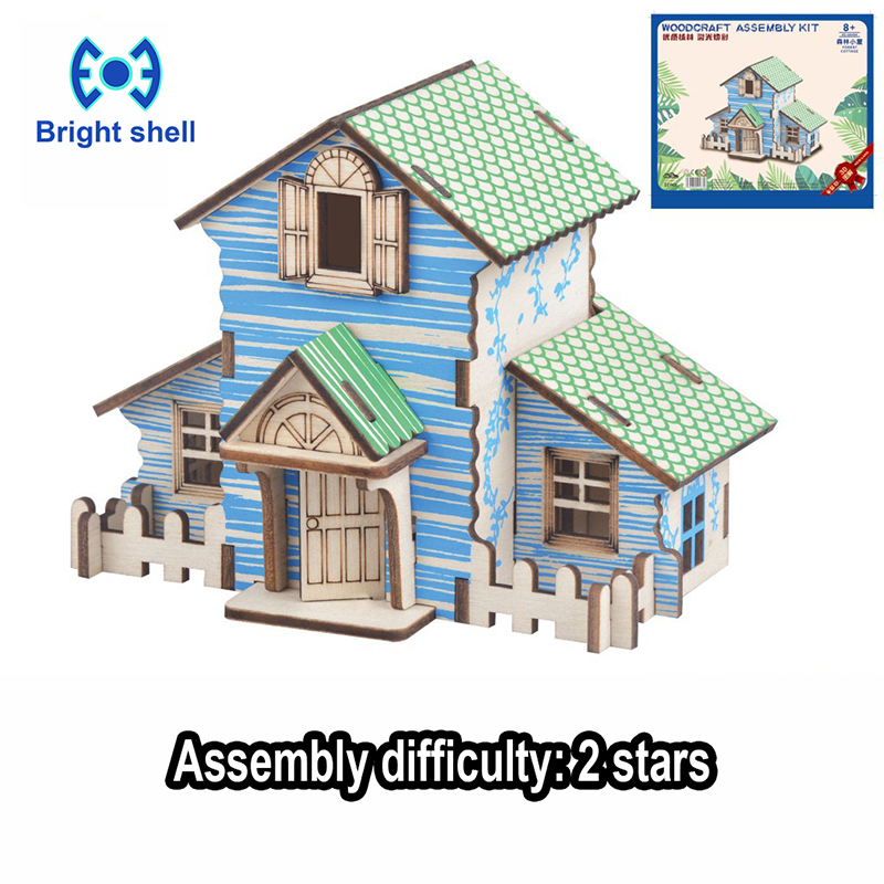 DIY Arts And 3D House Handmade Wooden Craft Toys Party Arts Puzzles Model Decoration For Children Kid Toy Birthday Best Gift