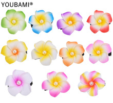 1.75 Inch Hawaiian Plumeria Foam Flowers Hair Clips With Pearl 22 pcs/lot (11 colors mixed)