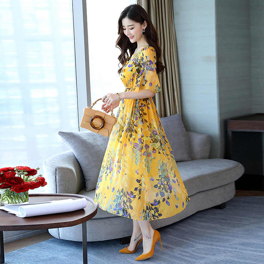 2019 Женщины плюс юбка большого размера Элегантное цветочное шифоновое платье-миди Лето Новый Пляжный Ветер Отдых женщин Урожай длинное платье женская Fit Богемное вечернее платье