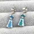Elsa Dress  Dangle With Blue&Green Enamel Pendant Charm  European Beads Fit Pandora Charms Bracelets&Bangles Necklace B00294