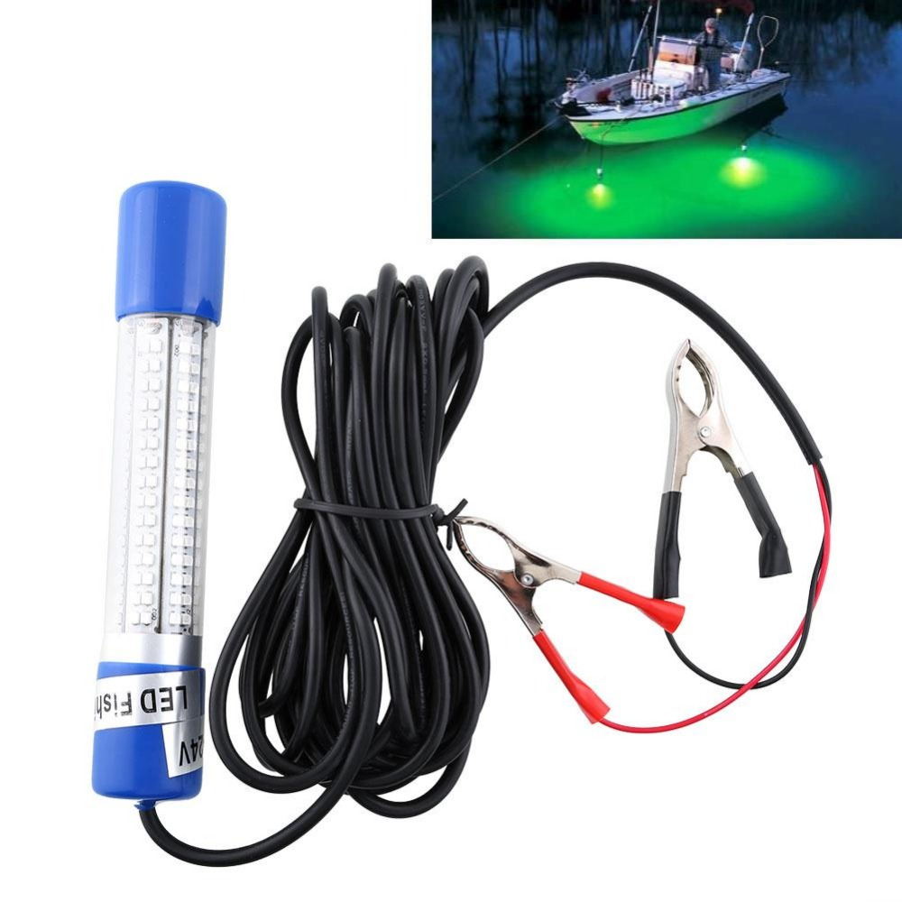 12V Green Night LED Underwater Boat Submersible Fishing Lure Light Clip-on NEW 12v led green lure bait finder night fishing boat submersible deep drop underwater lights for crappie bass striper catfish