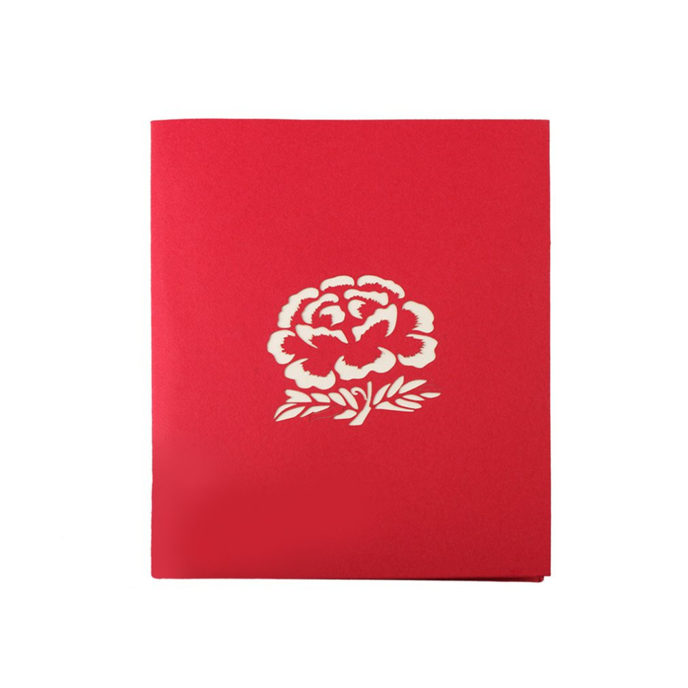 3D Pop Up Cards Beautiful Peony Flowers New Year Series Wedding ...