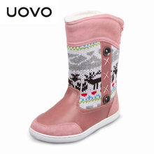 UOVO 2017 зима детская резиновые сапоги для девочек/мальчиков детская обувь модные девушки снег сапоги Рождественские сапоги лодки размер 26-39