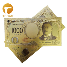 Japanese New Colorful Gold Plated Banknote 24k Japan 1000 Yen Collectible Fake 10pcs/lot Free Shipping