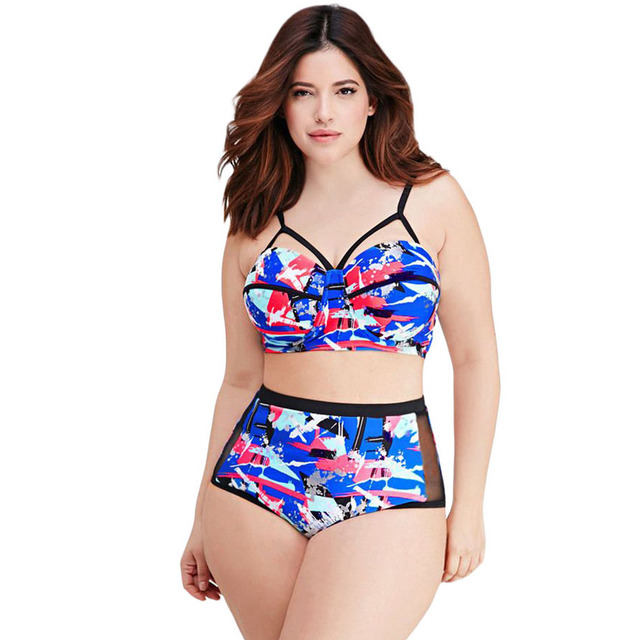 26c4bf3a029 Plus Size Splattered Abstract High Waisted Bikini Bottoms Bikini Swimsuit  Bikini Sets Women Biquini Maillot De Bain