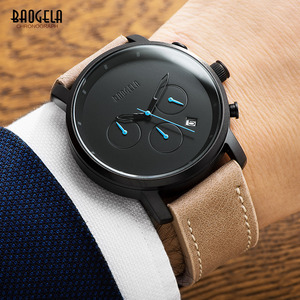 Image 2 - Baogela Mens פשוט הכרונוגרף אנלוגי שחור קוורץ שעון, עור Bracelete שעוני יד עם לוח שנה תאריך עבור ילד וגבר 1705G