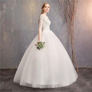 Image 3 - Suknia ślubna 2020 nowe tanie pani wygrać pół krótki kimonowy rękaw księżniczka Illusion suknie ślubne może wykonane na zamówienie Vestido De Noiva F