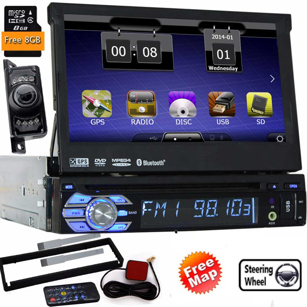 camera+1 Din Car Stereo Car DVD Player 7 inch HD Touch Screen GPS Navigation FM/AM Radio Bluetooth Support USB/SD 8GB Gps Card joyous j 2611mx 7 touch screen double din car dvd player w gps ipod bluetooth fm am radio rds