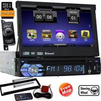 camera+1 Din Car Stereo Car DVD Player 7 inch HD Touch Screen GPS Navigation FM/AM Radio Bluetooth Support USB/SD 8GB Gps Card