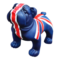 British Bulldog Statue Handmade Art Sculpture Pet Dog Colophony Crafts Home Decor Stores 42CM L3018
