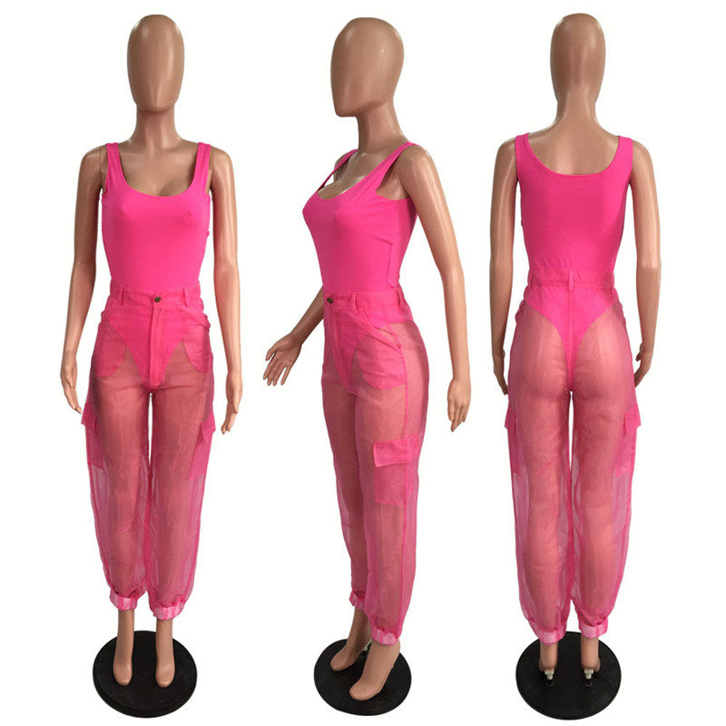HTB1N10WXaL7gK0jSZFBq6xZZpXaj - ANJAMANOR Sexy Two Piece Set Bodysuit Top and Mesh Pants Neon Pink Green Summer 2 Piece Club Outfits Matching Sets D59-AB72