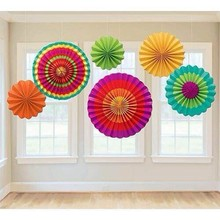 Mexican Party Decorations Set 6pcs/set Printed Paper Rosette Fans For Fiesta Carnival Hawaiian Supplies