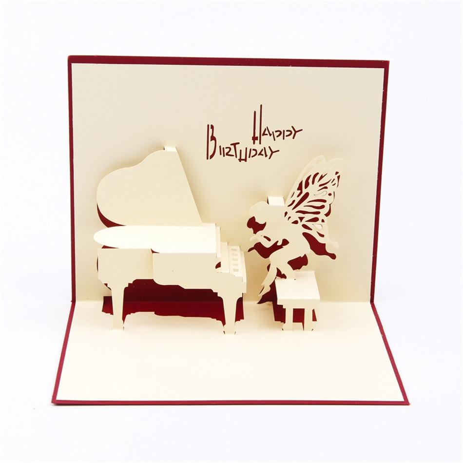 Piano Gelukkige Verjaardag 3d Pop Up Papier Laser Cut Wenskaarten