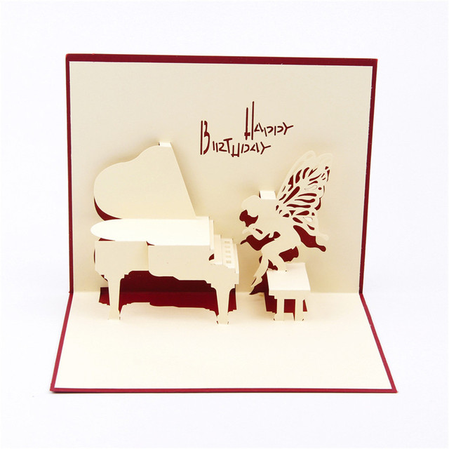 Piano happy birthday 3d pop up paper laser cut greeting cards baby piano happy birthday 3d pop up paper laser cut greeting cards baby shower birthday souvenirs wishes m4hsunfo