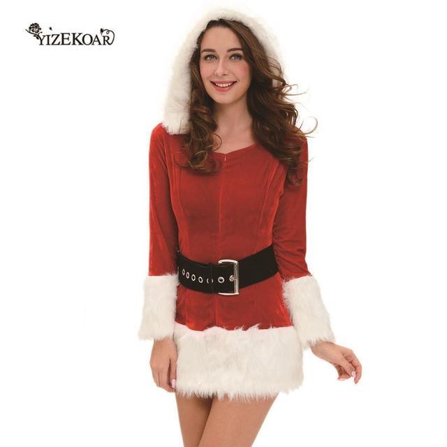 2018 Winter Women Sexy Red Dress Hooded Santa Costume Velvet Fur Trim Dress Long Sleeved Christmas  sc 1 st  AliExpress.com & 2018 Winter Women Sexy Red Dress Hooded Santa Costume Velvet Fur ...