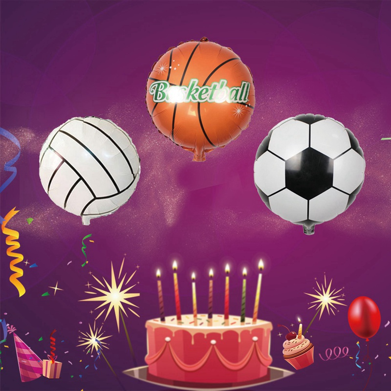 2 Pcs/lot 18 Inch Football Foil Cartoon Balls For Children Birthday Party Cute Basketball, Volleyball Balloons
