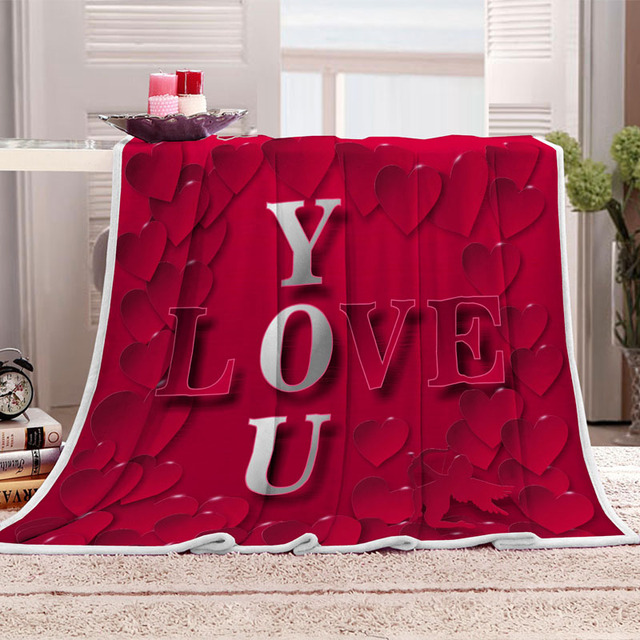 Europe 3D print Red hearts LOVE YOU letters Romance lovers soft Flannel sleeping Blanket bedspread on bed sofa couch chair/M2041