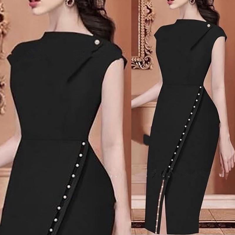 2019 Summer Women Short Sleeve Party Dress Office Lady Formal Dress Sheath Beading Embellished Slit Irregular Bodycon Dress in Dresses from Women 39 s Clothing