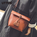Simple PU Leather Mini Small Women Fringed Crossbody bag Tassel Messenger Shoulder Bag Sling Purse Lady Handbag