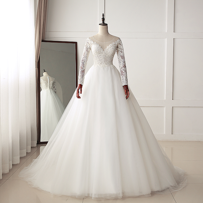 Fansmile New Luxury Vintage Sleeves Lace Wedding Dress 2019 Ball Gown Princess Bridal Wedding Gowns Vestido De Noiva FSM-553T