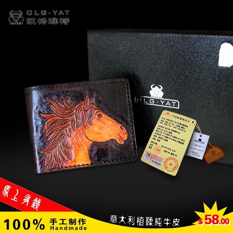 Hong Kong OLG.YAT zodiac Horse carved by hand Men's brief paragraph (horizontal)purse  Italian pure cowhide casual short  wallet робот zodiac ov3400