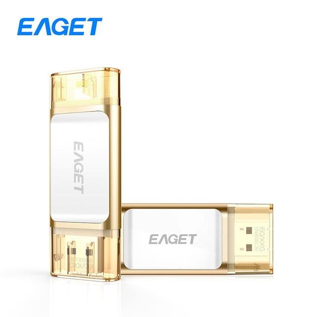 Eaget i60 OTG USB 3.0 100% 32 GB Flash Drives 64 GB Pen Drive memoria PC Tablet 128 GB Pendrive U Disco Stick Para iOS Para iPhone