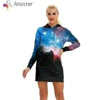 Fashion Autumn Women Causal Hoodies Sweatshirt Dress Starry Night Galaxy  Print 3D Hooded Hoodie Dress Girls 6e52271f6e5e