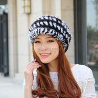 Classic Winter Mink Hair Rex Rabbit Hair Knitted Women Thickening Thermal Street Fashion Fur Hat