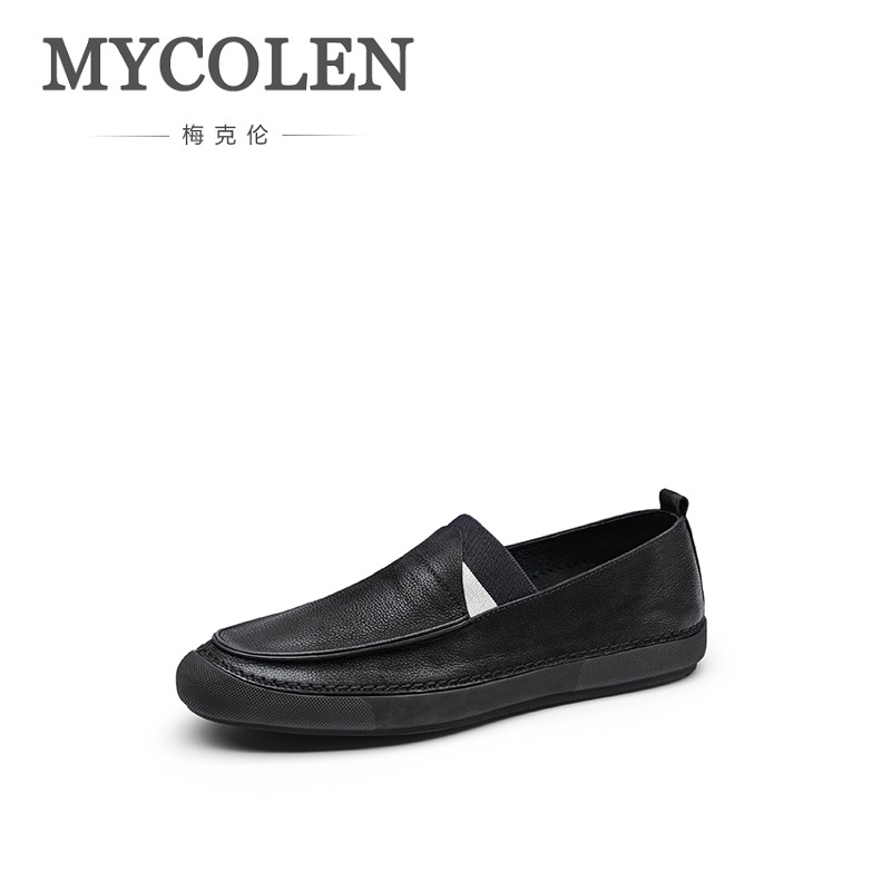 цены на MYCOLEN New Fashion Men Shoes Soft Leather Shoes Casual Slip On Moccasins Men Loafers Hight Quality Flats Shoes Kar Botu в интернет-магазинах