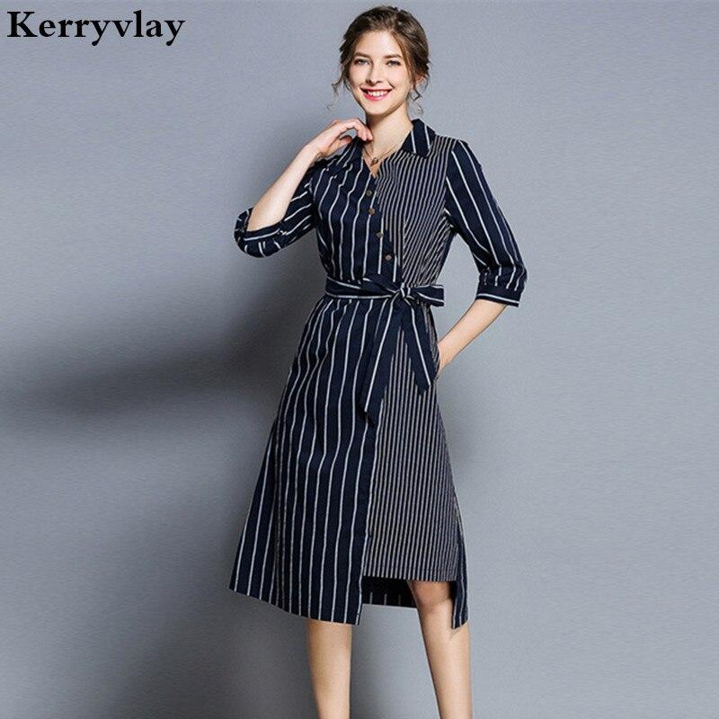 Autumn Irregular Shirt Office Striped Dress Vestidos Casuales Mujer 2019 Midi Womens Dresses Vetement Femme Jurken K5318