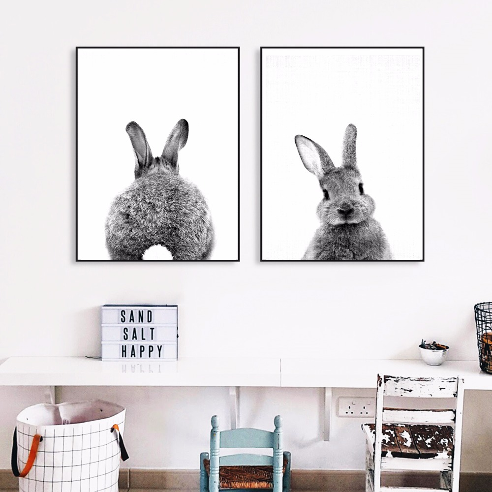 Fat Rabbit Photo Artwork Painting Poster Print Cuadros decorativos de pared para sala de estar Sin marco Accesorios de decoración del hogar