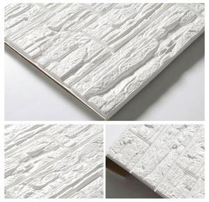 Image 5 - 70*77*0.8 3D קיר מדבקות עמיד למים קצף קישוט בולטות חדר שינה סלון DIY דבק תוצרת בית מדבקות PE אבן פנלים