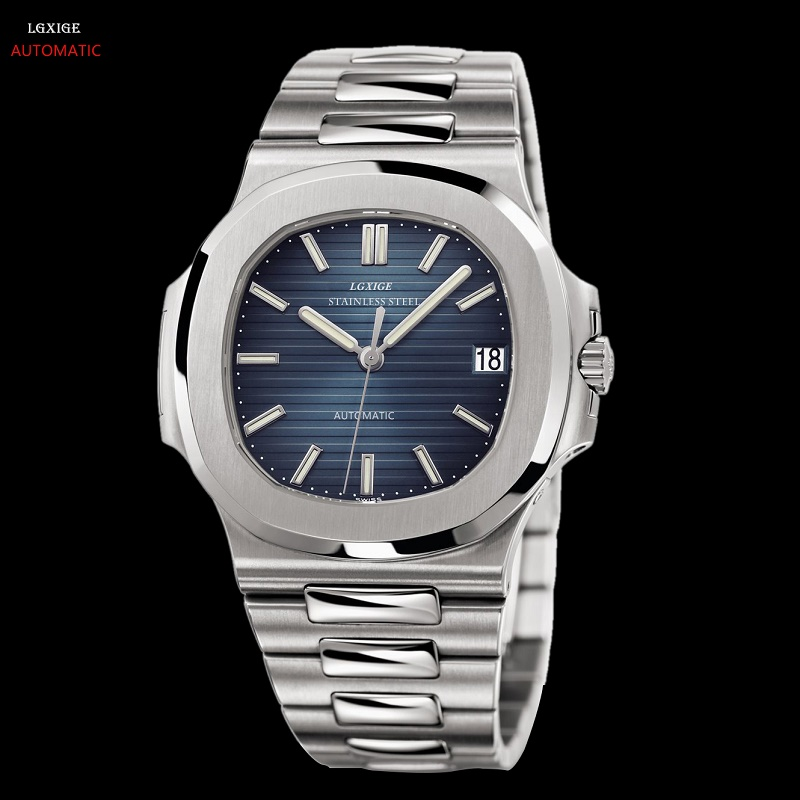 自動機械式時計男性ステンレス鋼発光手ノーチラス腕時計トップブランドの高級男性 AAA パテック LGXIGE 腕時計 PP