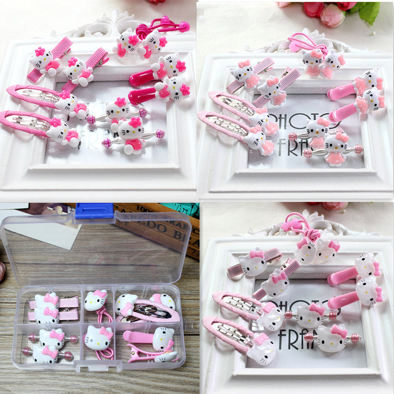 1 Gift BOX Fashion cute girls Hair Band Hello Kitty hair accessories elastic hair bands Girl hair clip Gum kids gifts Headwear new hair claw for women girl elegant high quality hair clip party decorations holiday gift accessories